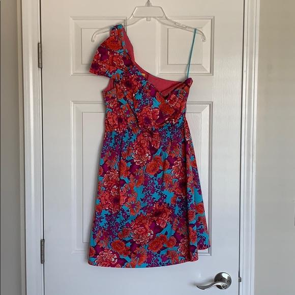 Ellen & Ollie one shoulder floral summer dress